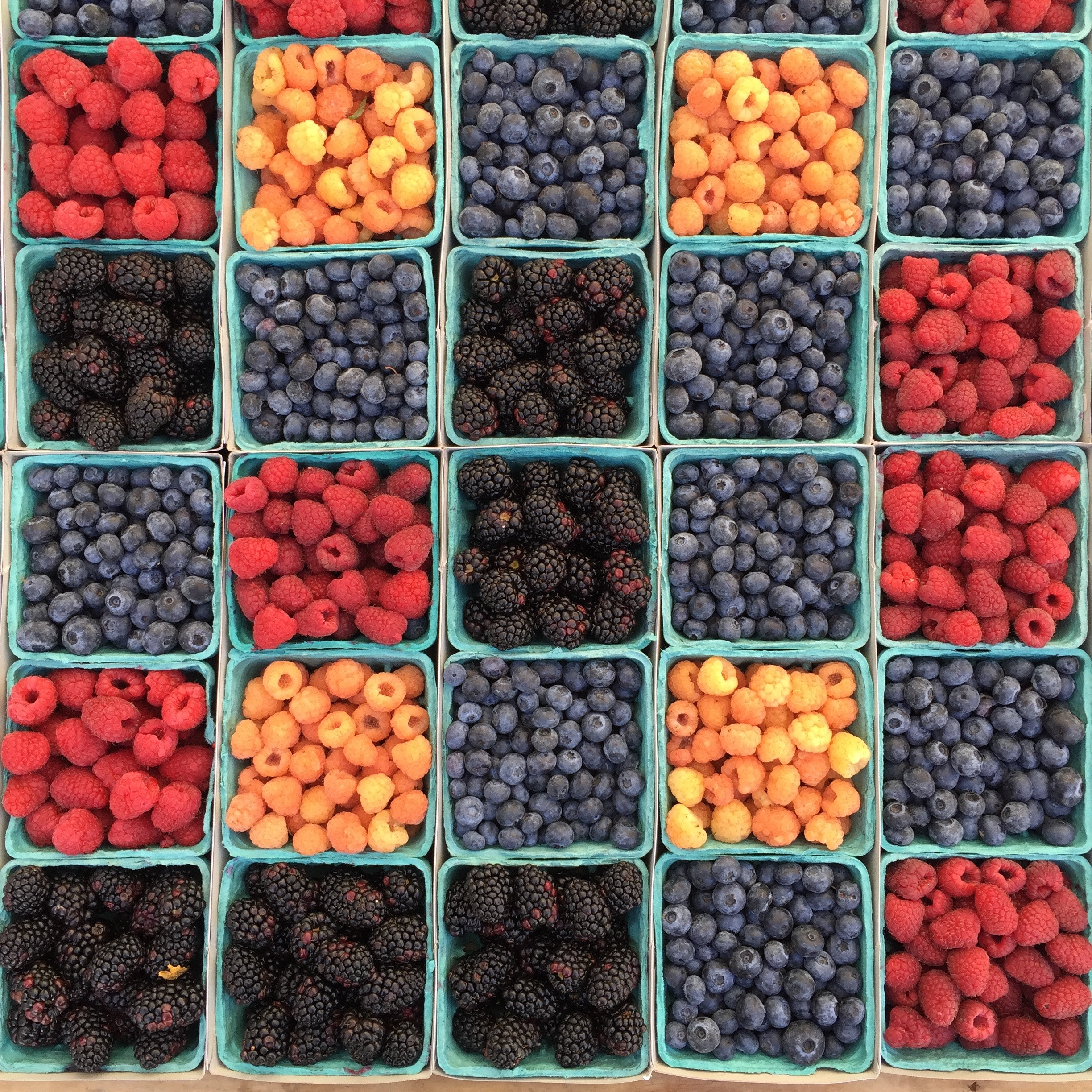 boxes of blueberries, raspberries, blackberries, and some orange ones too