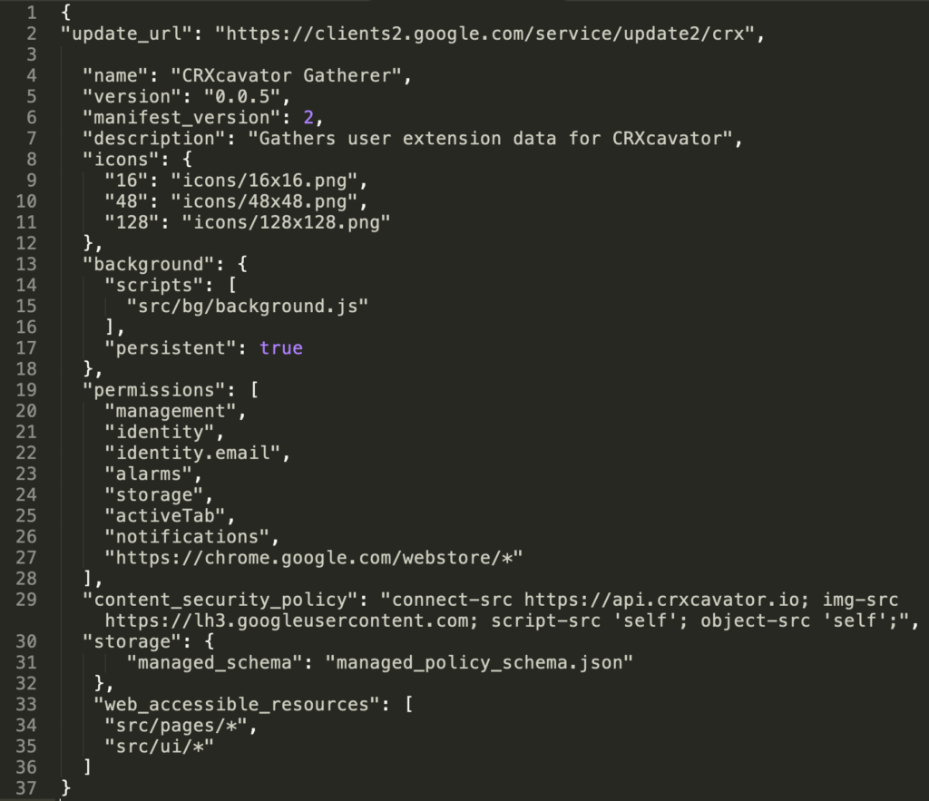 A text editor showing a sample manifest.json file